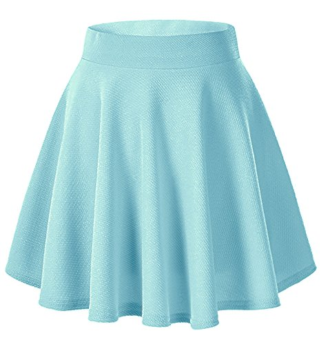 Moxeay Women's Basic A Line Pleated Circle Stretchy Flared Skater Skirt (Large, Light Blue)