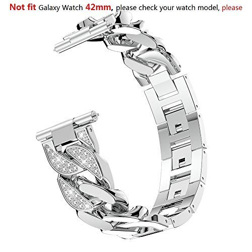 Bling Rhinestones Band Compatible Samsung Galaxy Watch 46mm Women, 22mm Metal Band Replacement Band Strap Watch Bracelet for Gear S3 Cassic/S3 Frontier Accessory (Silver, Not Fit Galaxy Watch 42mm)