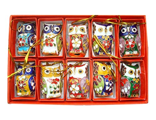 ARTIST Chinese Handmade Cloisonne Enamel Owl Christmas Ornaments(10 pcs) -