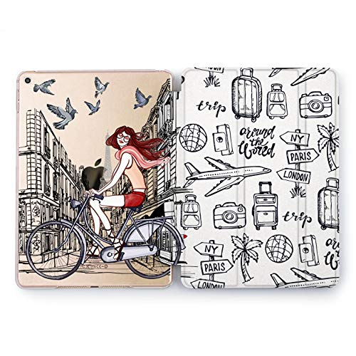 Space Boeing Plane (Wonder Wild Bicycle Girl Apple iPad Pro Case 9.7 11 inch Mini 1 2 3 4 Air 2 10.5 12.9 2018 2017 Design 5th 6th Gen Clear Smart Hard Cover Cycle Airplane Traveling Trip Around The World Luggage Globe)