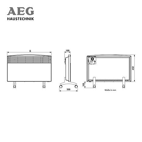 Heizung 2,5 kW T/ÜV//GS 25 m/² Umkippschutz AEG Standkonvektor mit Rollen WKL 2503 F f/ür ca 229800