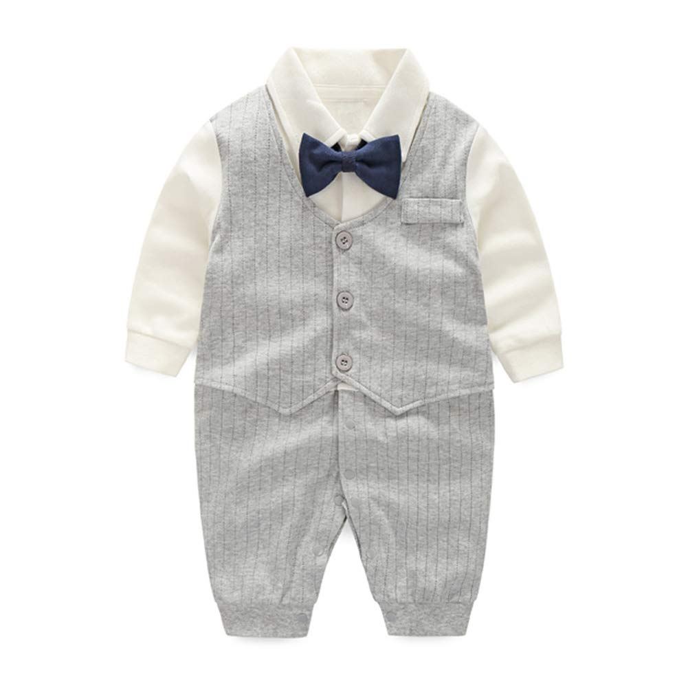 Merryway Newborn Baby Boys Long Sleeve Tuxedo Plaid Gentleman Formal Outfit Suit MW041