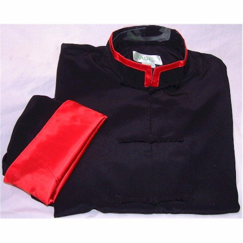 Red Trim Black Rayon Silk Mandarin Collar Kung Fu Jacket, Size XL by Jade