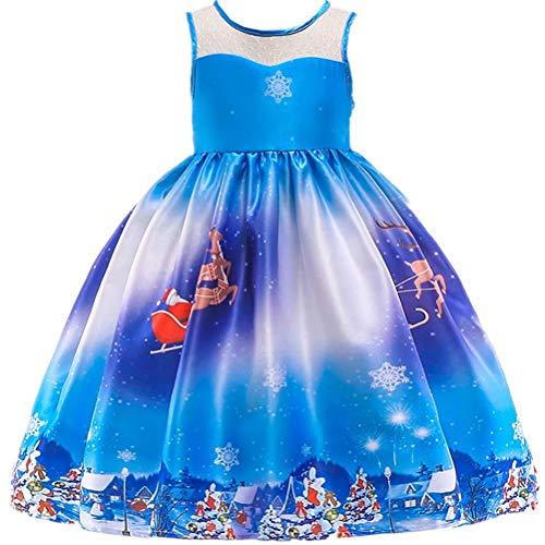 Tsyllyp Girl Xmas Santa Deer Print Dress Casual