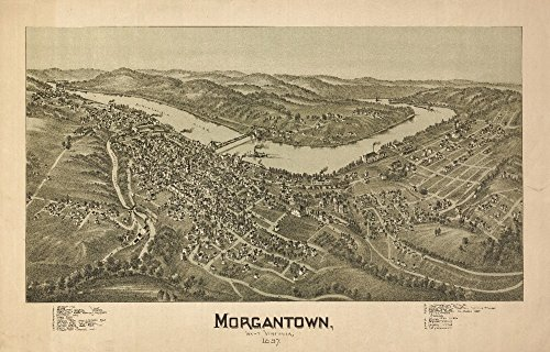Morgantown, West Virginia - Panoramic Map (16x24 Giclee Gallery Print, Wall Decor Travel Poster)