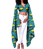 Comaba Women's Batik Cotton Crop Top Pullover Africa Dashiki T Shirts 9 XS
