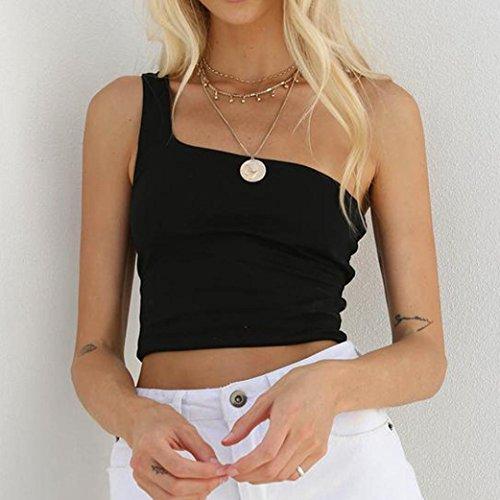 sans Sexy T Vest Sexyville Une Manche paule Gilet Mode Shirt Solide Noir Dbardeur Femme ffBq6wY