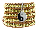 Long Bohemian Faceted Gold Tone Beaded Wrap Around Leather Bracelet with a Charm