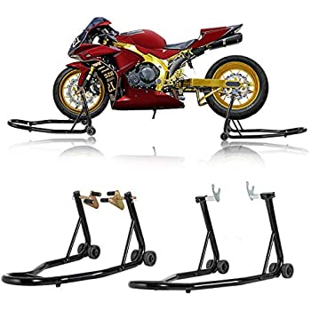 Amazon com: Motorcycle Front & Rear Combo Wheel Lift Stands