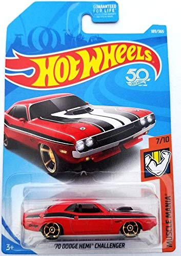 Hot Wheels 2018 50th Anniversary Muscle Mania '70 Dodge Hemi Challenger 189/365, Red