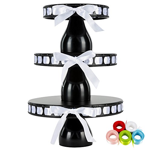 Lily 3-Piece Black Metal Ribbon Cake Stand Set, Round DIY Modern Pedestal 15 Interchangeable Satin Ribbons Included ()