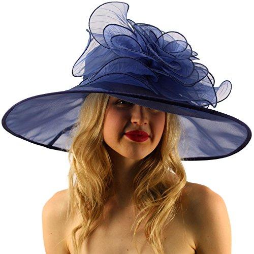 """Splendid Edwardian Ruffle Floral Organza Derby Floppy Wide 7"""" Dress Hat"""