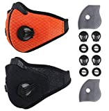 Activated Carbon Dustproof/Dust Mask - Filter Cotton Sheet and Valves for Exhaust Gas, Pollen Allergy, PM2.5, Running, Cycling, Outdoor Activities (Black+Orange)