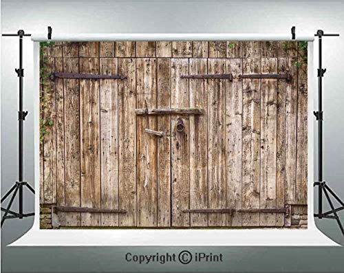 Rustic Photography Backdrops Old Oak Closed Garage Door with Steel Hinges Vintage Typical Cottage Doorway Image,Birthday Party Background Customized Microfiber Photo Studio Props,7x5ft,Tortilla