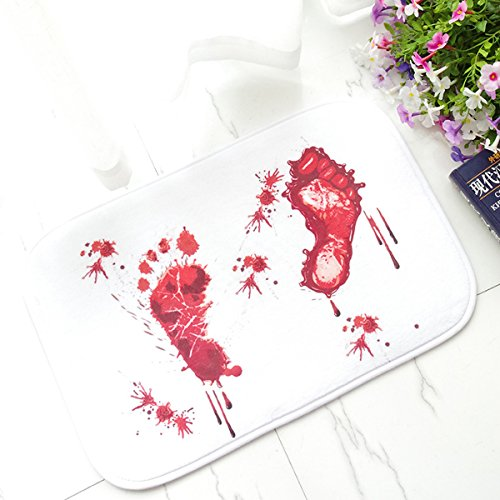 YSBER Novelty Bloody Bath Mat, Horror Bloody Footprints Carpet Home Decor Non-Slip Flannel Bathroom Floor Shower Rugs