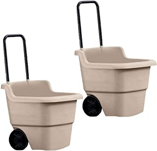 product image for Suncast 15 Gallon Poly Multipurpose Rolling Lawn and Garden Cart, Taupe (2 Pack)