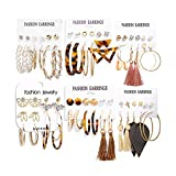 36 Pairs Fashion Tassel Earrings Set for Women Girls Bohemian Acrylic Hoop Stud Drop Dangle Earring Leather Leaf Earrings for Birthday/Party/Christmas/Friendship Gifts: more info