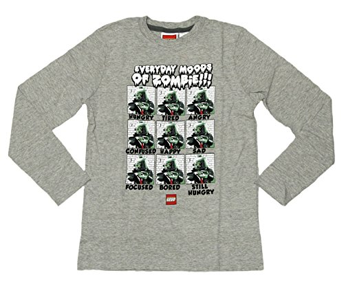 Boys Lego Zombie Long Sleeve Shirt (S (8), Grey) (Zombie Clothes For Kids)