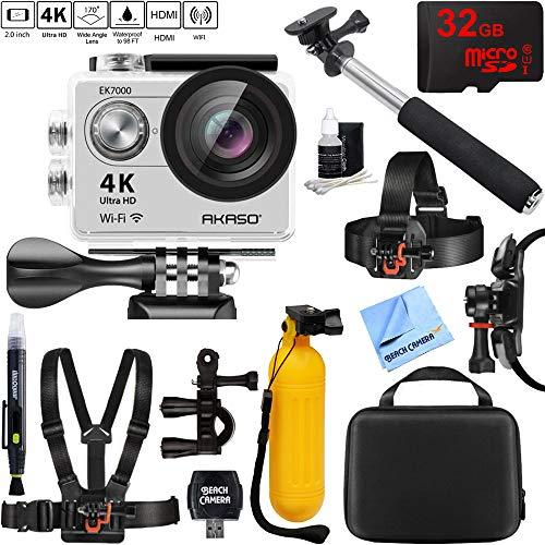 AKASO EK7000 Ultra HD 4k WiFi 170 Degree Wide Waterproof Sports Action Camera Silver + 32GB Outdoor Adventure Mounting Bundle