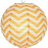 "WeGlow International 14"" Chevron Stripes Paper Lantern (Set 2), Orange"
