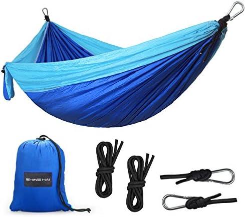 SHINE HAI Camping Hammock, Lightweight Parachute Nylon Garden Hammock, Portable Bed for Backpacking, Camping, Travel, Beach, Yard