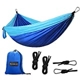 SHINE HAI Camping Hammock, Lightweight Parachute Nylon Garden Hammock, Portable Bed for Backpacking, Camping, Travel, Beach, Yard