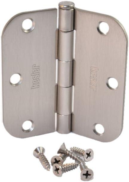 Pack of 18 Wester 3.5 x 3.5 Satin Nickel Door Hinges with 5//8 Radius Corners Brushed Nickel