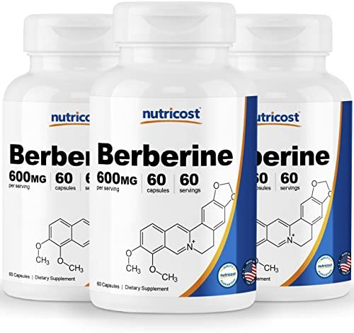 Nutricost Berberine HCl 600mg, 60 Caps 3 Bottles – Gluten Free, Veggie Caps, Non-GMO