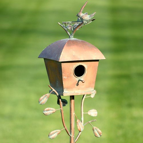 Birdhouse Shape Bird - Zaer Ltd. Large Copper Colored Birdhouse Garden Stakes (Square Shape)