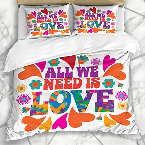 Ahawoso Duvet Cover Sets King 90x104 Lettering All We Need Love Psychedelic Purple 60S 70S Retro Groovy Peace Microfiber Bedding with 2 Pillow Shams