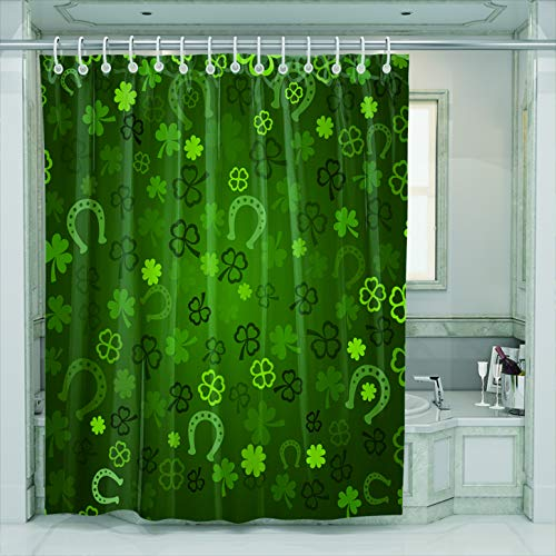 n with Hooks Modern Fashion Lucky Green Shamrocks Horseshoe Irish Traditional Festival St Patrick Day Waterproof Mildew Resistant Bathroom Fabric Size 60 x 72 inches ()