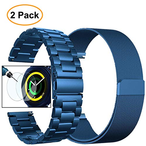 Gear Sport Band, Galaxy Watch (42mm) Band, Valkit 20mm Stainless Steel Watch Bands+Milanese Loop Mesh Replacement Metal Strap+Screen Protector for Samsung Gear Sport/S2 Classic/Galaxy Watch 42mm, Blue