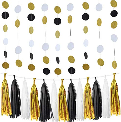 (Circle Dots Paper Garland 3 Pack of 10-Foot Garlands (30 Feet Total) + 20 Tissue Paper Tassels, as Black and Gold Party Decorations (Polka Dots and Tassels - White, Gold,)