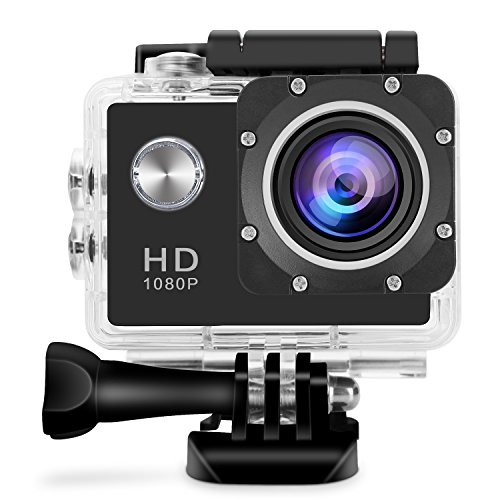 GBB Action Camera, Ultra HD 1080P 12MP 170 Degree Wide Angle Motion Detection Waterproof Sports Camcorder DV with 2 Batteries and Full Accessories kits Black GBB