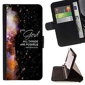 Momo Phone Case / Flip Funda de Cuero Case Cover - BIBLIA Mateo 19:26 Con Dios todo es posible; - MOTOROLA MOTO X PLAY XT1562