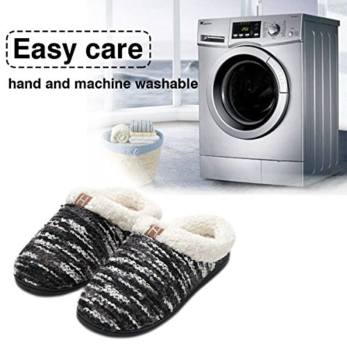 Black Fleece Slippers Comfort Foam Slippers Memory Like Lined Men's House Shoes Breathable INFLATION Women's Women Wool Plush qtZ8Fx