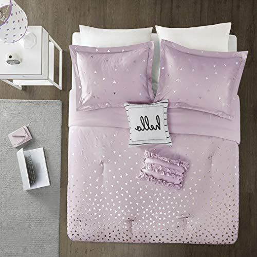 Kaputar Cozy Trendy Chic Cool Purple Pink Silver Grey Ruffle Soft Girls Comforter Set | Model CMFRTRSTS - 1054 | Queen