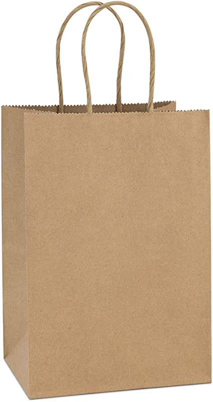 BagDream Kraft Paper Bags 25Pcs 5.25x3.75x8 Inches Small Paper Gift Bags with Handles Party Bags Shopping Bags Kraft Bags Brown Paper Bags Bulk