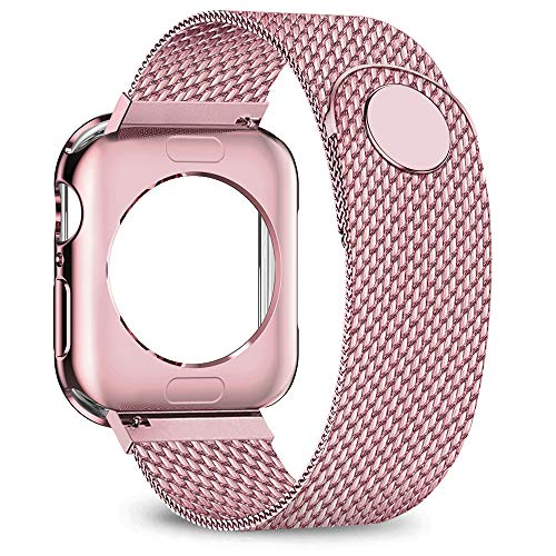 jwacct Compatible for Apple Watch Band with Screen Protector 38mm 40mm 42mm 44mm, Soft TPU Frame Case Cover Bumper Compatible for Apple Series 1/2/3/4 Rose Gold