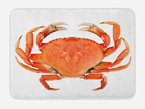 Ambesonne Crabs Bath Mat, Sea Animals Theme a Cooked Dungeness Crab with National Marks Digital Image Print, Plush Bathroom Decor Mat with Non Slip Backing, 29.5 W X 17.5 L Inches, Orange White