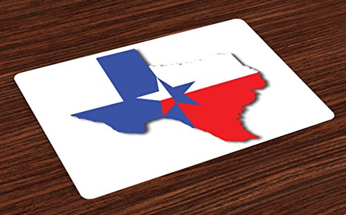 - Ambesonne Texas Star Place Mats Set of 4, Outline of The Texas Map American Southwest Austin Houston City, Washable Fabric Placemats for Dining Room Kitchen Table Decor, Vermilion White Violet Blue
