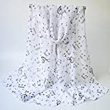 Cindere Lightweight Chiffon Musical Note Printed Summer Beach Gift Scarf Shawl Wrap (White)
