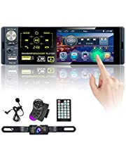 Single Din Car Stereo 4.1 Inch Touch Screen Radio Car Audio Receiver Bluetooth AM RDS FM Radio Dual USB AUX-in SD Card Port Hitch License Plate Backup Camera + Microphone + Steering Wheel Control