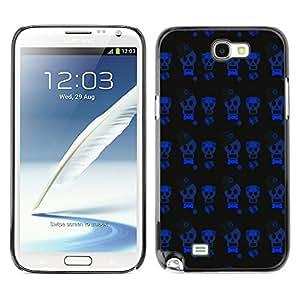iKiki-Tech Estuche rígido para Samsung Galaxy Note 2 N7100 - Blue Skull