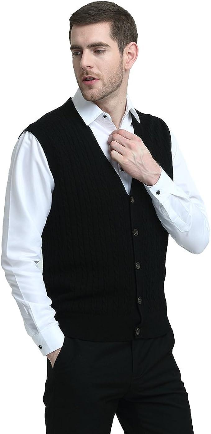 Kallspin Cardigan pour Homme en Laine de Cachemire M/élang/ée sans Manches et Col en V Profond Tricot/é avec des Boutons