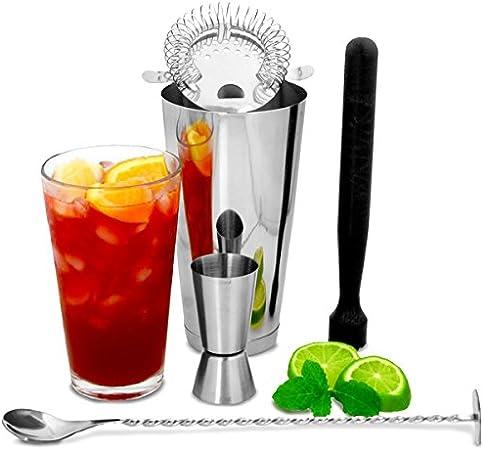 Compra Bar@Drinkstuff - Boston cocktail shaker set con jigger medida por | cóctel haciendo kit, cóctel starter pack | bar accesorios set incluye coctelera boston, machacador, cuchara de mezcla, colador de coctel