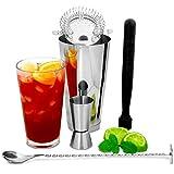 Boston Shaker Set con Jigger misura da bar@drinkstuff   Cocktail Fare Kit , Confezione Cocktail Starter   Accessori Bar Set comprende Boston Shaker, Muddler , Mischiare cucchiaio , Cocktail & Strainer Jigger Misura