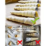 Cream Horn Molds EURICA 5-inch Large Size Cream Horn Forms Pack of 16 Cannoli Tubes Ice Cream Mold Stainless Steel Lady Lock Puff Pastry Cream Horn Mold Waffle Cone Pastry Roll Horn Croissant Mold 13 1. SIZE and MATERIAL: Height: 5 inches/12.7cm; Diameter:1.4 inches/3.6cm. For making Big Horn. Material: 100% High Quality anti rust Stainless Steel with NO coating on both inside and outside, which is non-toxic and healthy. 2. PACKAGE INCLUDE: 16 pcs cream horn molds and 1 cleaning brush. You can make 16 HORNS IN ONE GO! Each product has an individual package, which prevents the cream horn molds from being polluted and abraded, and makes them easy to be separated. 3. EAST TO MAINTAIN AND SPACE SAVING: Smooth surface prevents pastry sticking to it. Almost seamless cream horn molds do not catch dough and make it easy to remove baked goods. Wash with our cleaning brush free for you easily. Dry thoroughly before storage. Only need a small space if you stack the cream horn molds together one by one.
