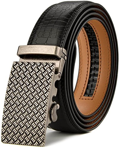 KMBEST Men's Leather Ratchet Dress Belts with Automatic Buckle Gift Box (UP TO 44