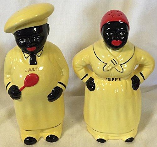 Salty & Peppy Salt & Pepper Shaker Set (Yellow) Vintage Black Americana